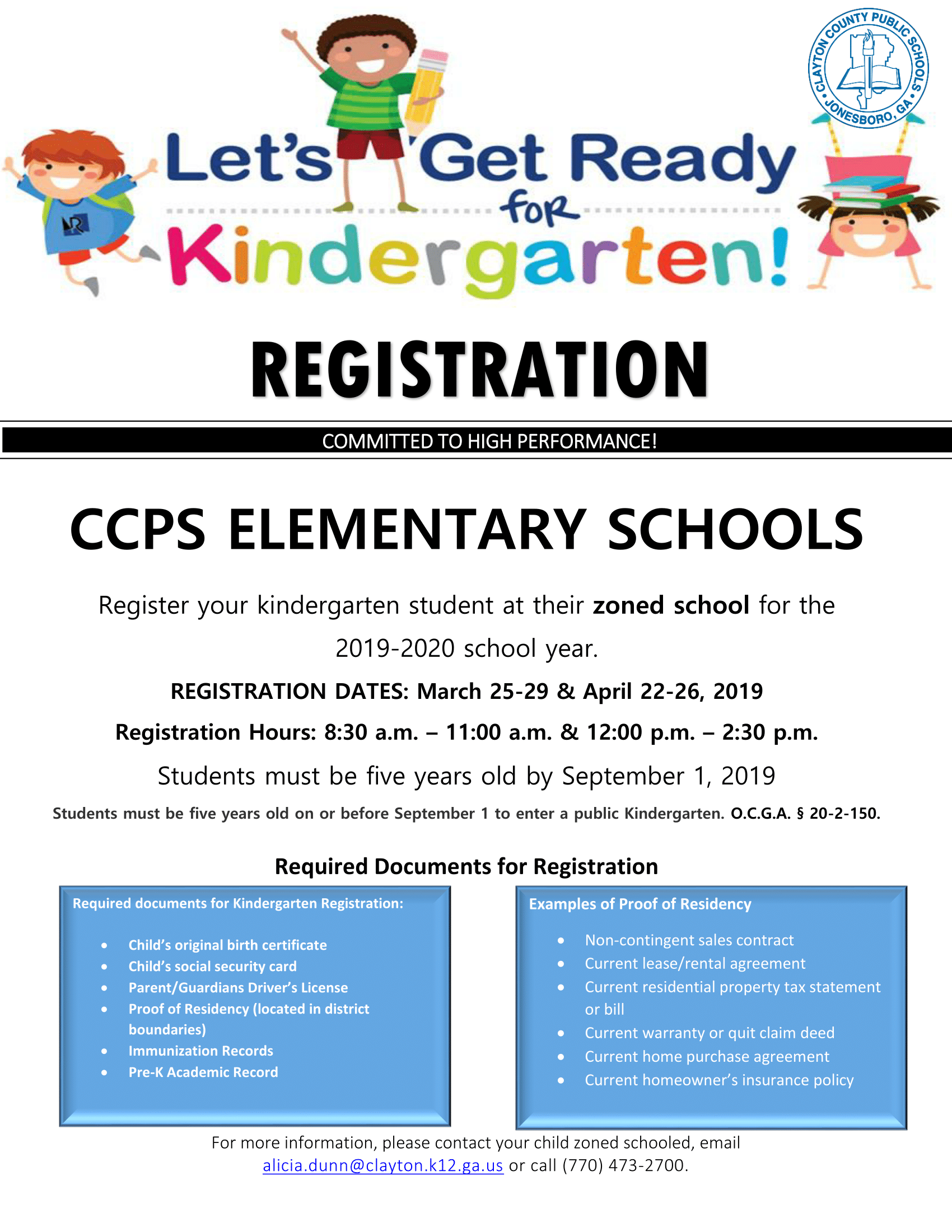 20192020 Kindergarten Registration